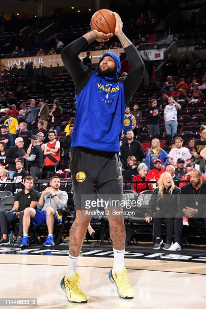 DeMarcus Cousins of the Golden State Warriors warms up before Game Three of the Western Conference Finals against the Portland Trail Blazers on May...