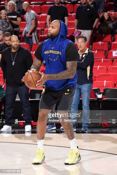 DeMarcus Cousins of the Golden State Warriors warms up before Game Four of the Western Conference Finals against the Portland Trail Blazers on May 20...