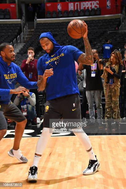 DeMarcus Cousins of the Golden State Warriors warms up prior to a game against the LA Clippers on January 18 2019 at STAPLES Center in Los Angeles...