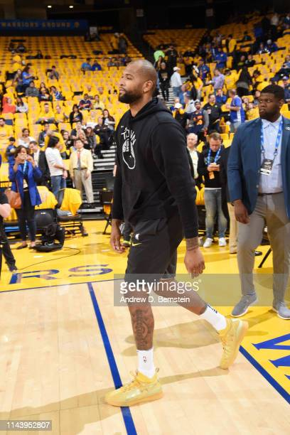 DeMarcus Cousins of the Golden State Warriors warms up prior to a game against the Portland Trail Blazers before Game One of the 2019 Western...