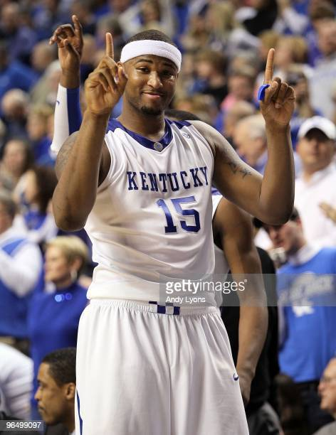 DeMarcus Cousins of the Kentucky Wildcats signals that his team is number one during the SEC game against the Arkansas Razorbacks on January 23 2010...