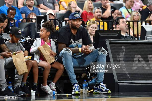DeMarcus Cousins of the Los Angeles Lakers watches the game on July 23 2019 at the Mandalay Bay Events Center in Las Vegas Nevada NOTE TO USER User...