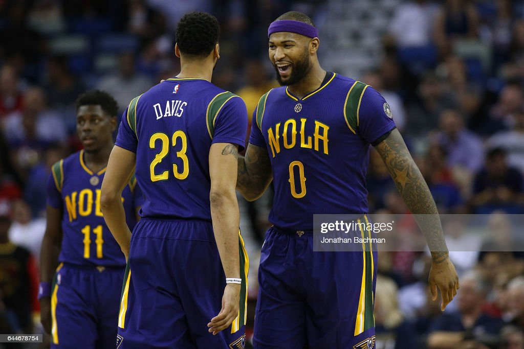 DeMarcus Cousins of the New Orleans Pelicans and Anthony Davis react ... b80643a05