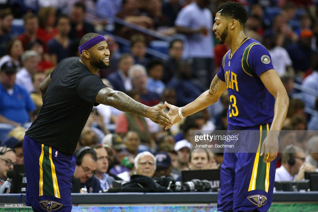 DeMarcus Cousins #0 of the New Orleans Pelicans and Anthony Davis #23 react during the first half of a game against the Houston Rockets at the Smoothie King Center on February 23, 2017 in New Orleans, Louisiana.