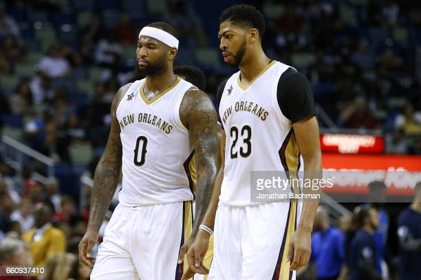 DeMarcus Cousins of the New Orleans Pelicans and Anthony Davis react during  the second half of 15ac3a9b8