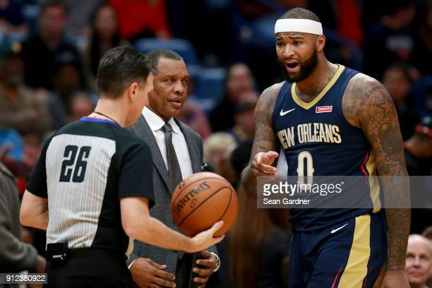 DeMarcus Cousins of the New Orleans Pelicans argues a call with referee Pat Fraher during a NBA game against the Houston Rockets at the Smoothie King...