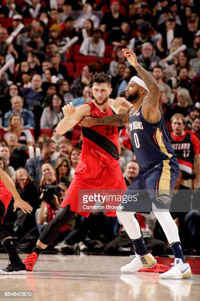 DeMarcus Cousins of the New Orleans Pelicans calls for the ball against Jusuf Nurkic of the Portland Trail Blazers on December 2 2017 at the Moda...