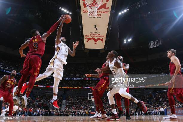 DeMarcus Cousins of the New Orleans Pelicans drives to the basket against the Cleveland Cavaliers on October 28 2017 at the Smoothie King Center in...