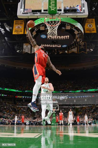 DeMarcus Cousins of the New Orleans Pelicans dunks against the Boston Celtics on January 16 2018 at the TD Garden in Boston Massachusetts NOTE TO...