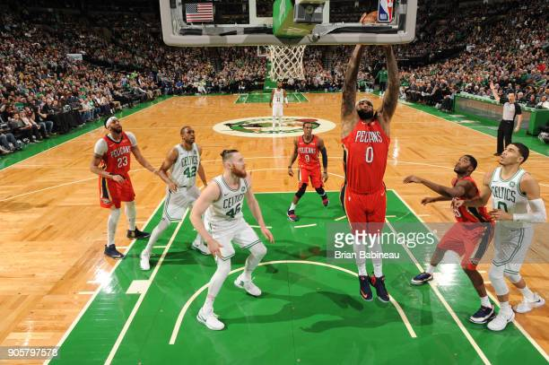 DeMarcus Cousins of the New Orleans Pelicans goes to the basket against the Boston Celtics on January 16 2018 at the TD Garden in Boston...
