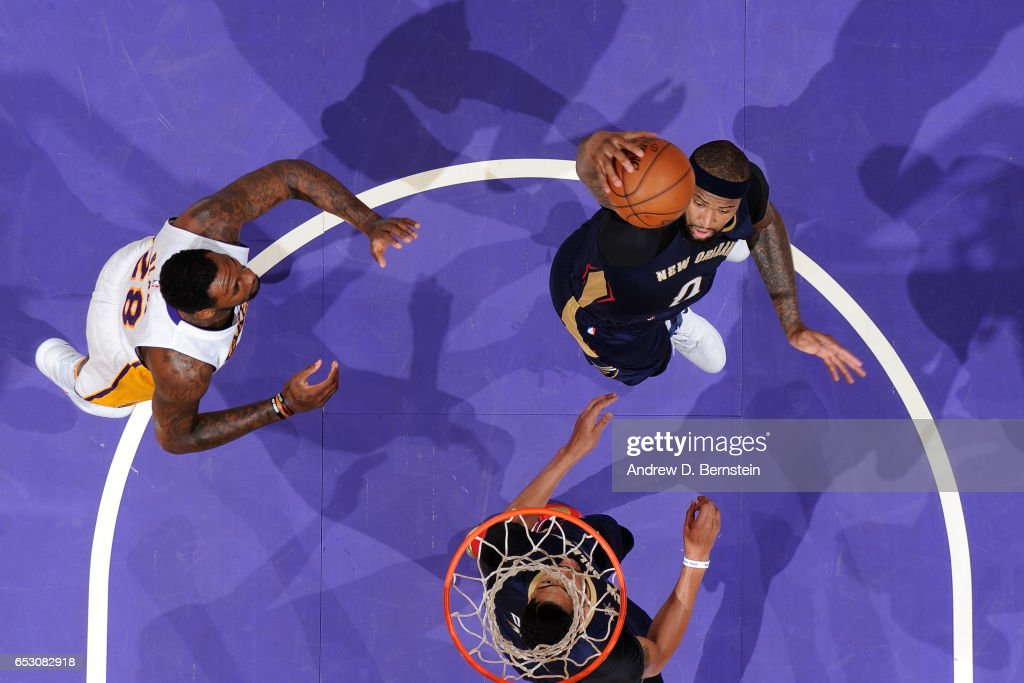 DeMarcus Cousins #0 of the New Orleans Pelicans goes up for a dunk against the Los Angeles Lakers on March 5, 2017 at STAPLES Center in Los Angeles, California.