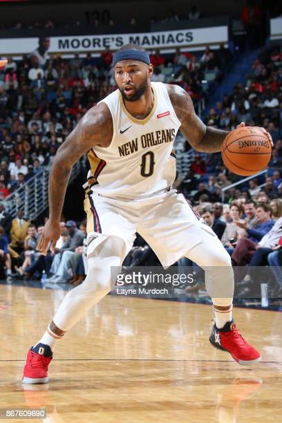 DeMarcus Cousins of the New Orleans Pelicans handles the ball against the Cleveland Cavaliers on October 28 2017 at the Smoothie King Center in New...