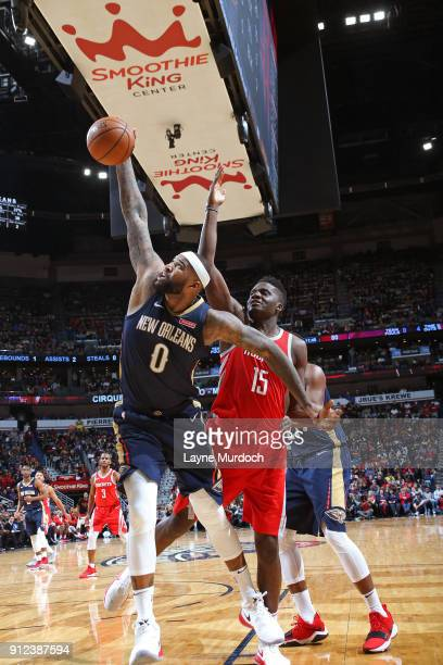 DeMarcus Cousins of the New Orleans Pelicans handles the ball during the game against the Houston Rockets on January 26 2018 at Smoothie King Center...