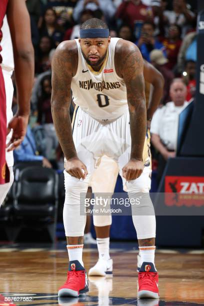 DeMarcus Cousins of the New Orleans Pelicans looks on during the game against the Cleveland Cavaliers on October 28 2017 at the Smoothie King Center...