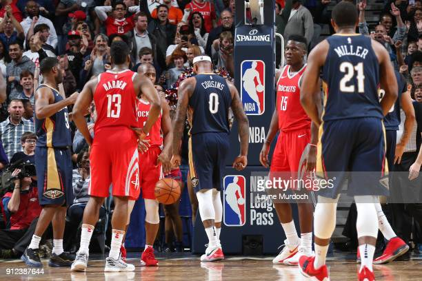 DeMarcus Cousins of the New Orleans Pelicans looks on during the game against the Houston Rockets on January 26 2018 at Smoothie King Center in New...