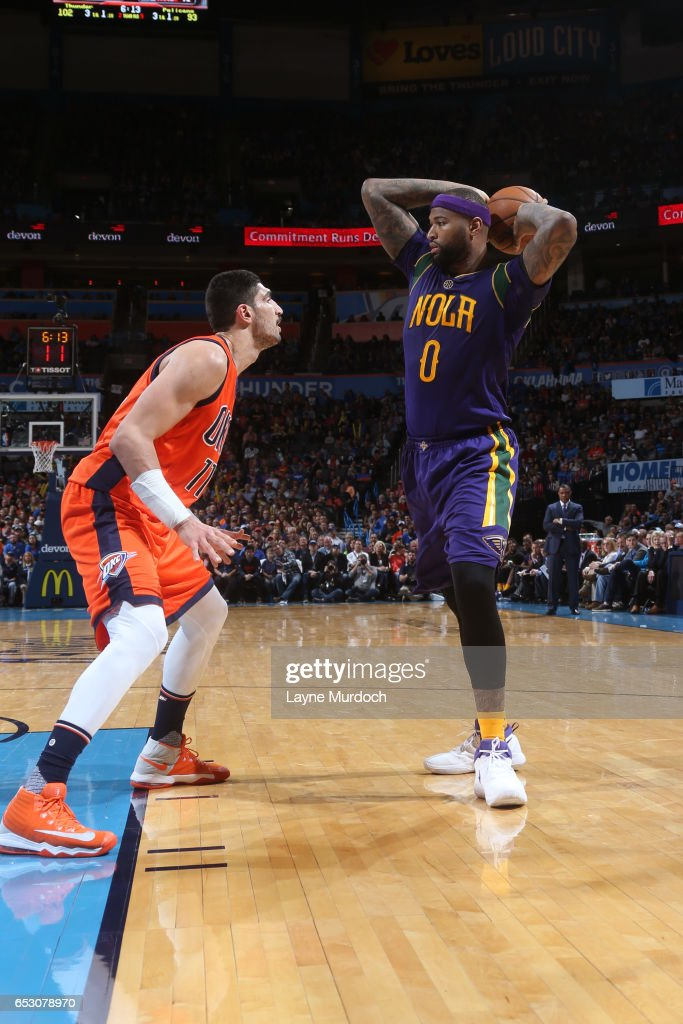 DeMarcus Cousins #0 of the New Orleans Pelicans looks to pass against the Oklahoma City Thunder on February 26, 2017 at the Chesapeake Energy Arena in Oklahoma City, Oklahoma.