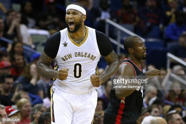 DeMarcus Cousins of the New Orleans Pelicans reacts after missing a shot during the second half of a game against the Toronto Raptors at the Smoothie...