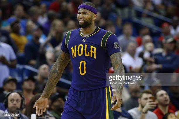 DeMarcus Cousins of the New Orleans Pelicans reacts during a game against the Houston Rockets at the Smoothie King Center on February 23 2017 in New...