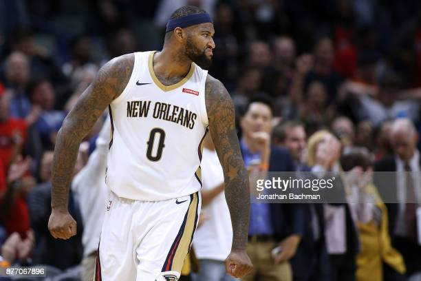 DeMarcus Cousins of the New Orleans Pelicans reacts during the first half of a game against the Atlanta Hawks at the Smoothie King Center on November...