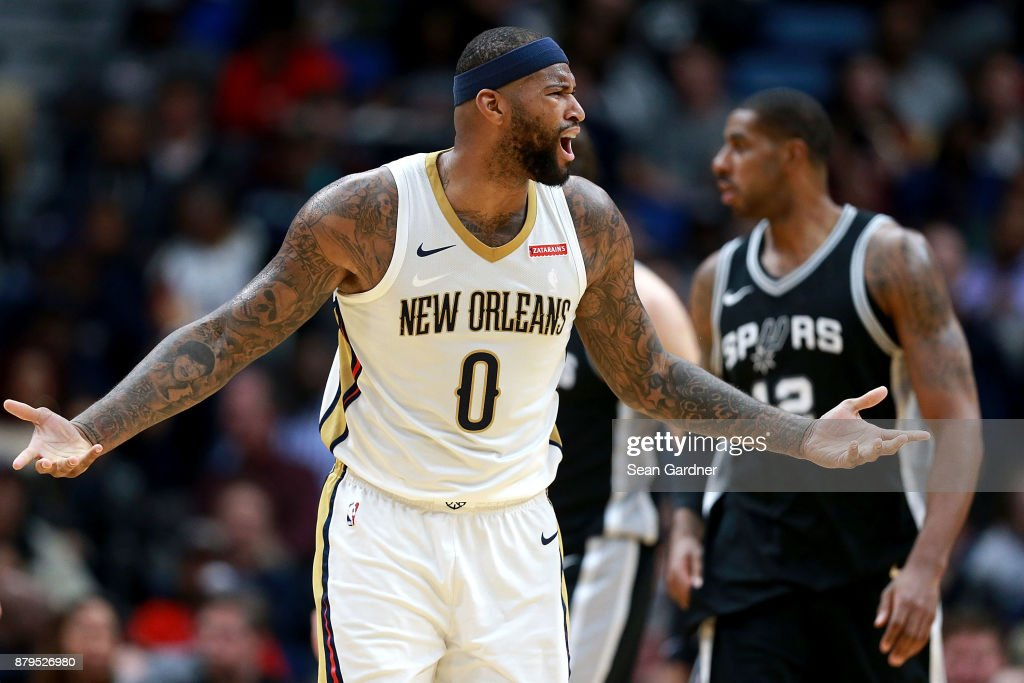 DeMarcus Cousins #0 of the New Orleans Pelicans reacts to a call during the first half of a NBA game against the San Antonio Spurs at the Smoothie King Center on November 22, 2017 in New Orleans, Louisiana.