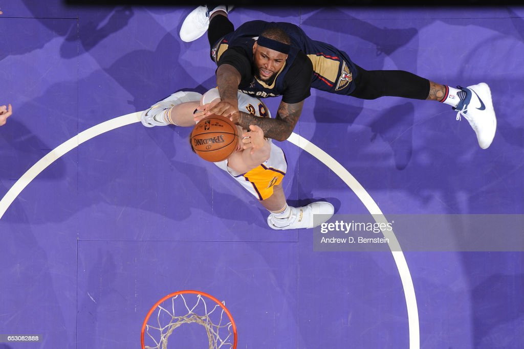 DeMarcus Cousins #0 of the New Orleans Pelicans shoots the ball against the Los Angeles Lakers on March 5, 2017 at STAPLES Center in Los Angeles, California.
