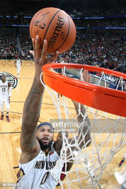 DeMarcus Cousins of the New Orleans Pelicans shoots the ball against the Cleveland Cavaliers on October 28 2017 at the Smoothie King Center in New...