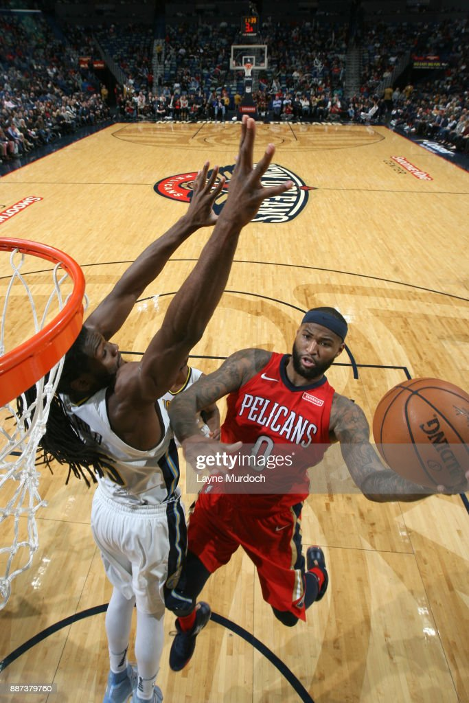 DeMarcus Cousins #0 of the New Orleans Pelicans shoots the ball against the Denver Nuggets on December 6, 2017 at Smoothie King Center in New Orleans, Louisiana.