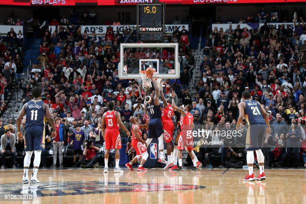 DeMarcus Cousins of the New Orleans Pelicans shoots the ball against the Houston Rockets on January 26 2018 at Smoothie King Center in New Orleans...