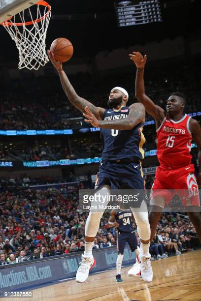 DeMarcus Cousins of the New Orleans Pelicans shoots the ball during the game against the Houston Rockets on January 26 2018 at Smoothie King Center...