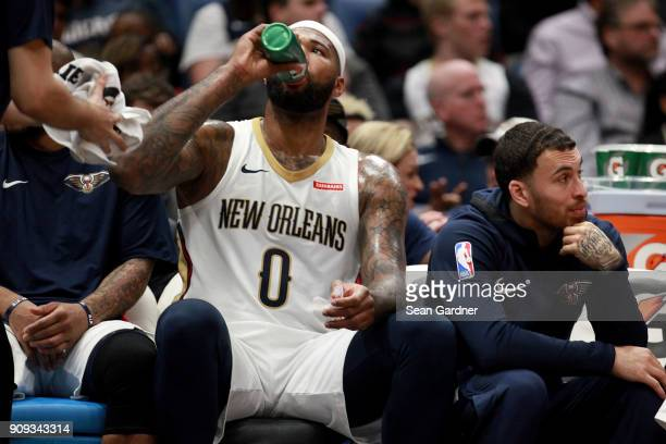 DeMarcus Cousins of the New Orleans Pelicans takes a drink from a Gatoraid bottle during the first half of a NBA game against the New Orleans...