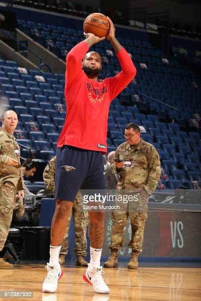 DeMarcus Cousins of the New Orleans Pelicans warms up prior to the game against the Houston Rockets on January 26 2018 at Smoothie King Center in New...