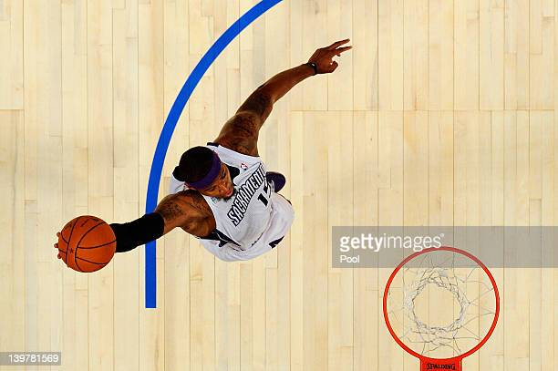 DeMarcus Cousins of the Sacramento Kings and Team Chuck dunks during the BBVA Rising Stars Challenge part of the 2012 NBA AllStar Weekend at Amway...