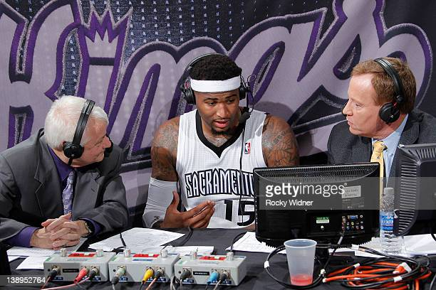 DeMarcus Cousins of the Sacramento Kings being interviewed by Jerry Reynolds and Grant Napear after a win against the Golden State Warriors at Power...