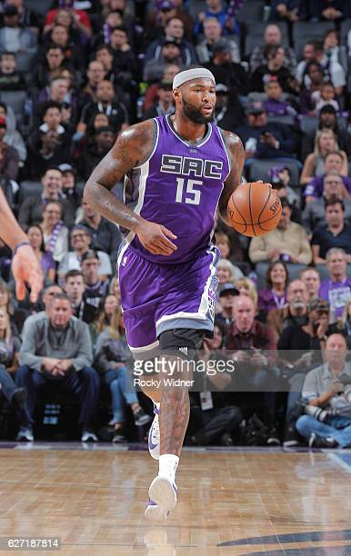 DeMarcus Cousins of the Sacramento Kings brings the ball up the court against the Oklahoma City Thunder on November 23 2016 at Golden 1 Center in...
