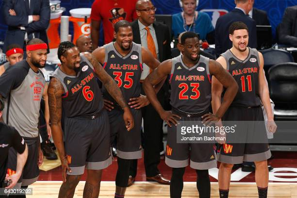 DeMarcus Cousins of the Sacramento Kings DeAndre Jordan of the Los Angeles Clippers Kevin Durant of the Golden State Warriors Draymond Green of the...