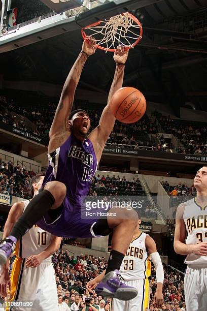 DeMarcus Cousins of the Sacramento Kings dunks against the Indiana Pacers during the game on March 25 2011 at Conseco Fieldhouse in Indianapolis...