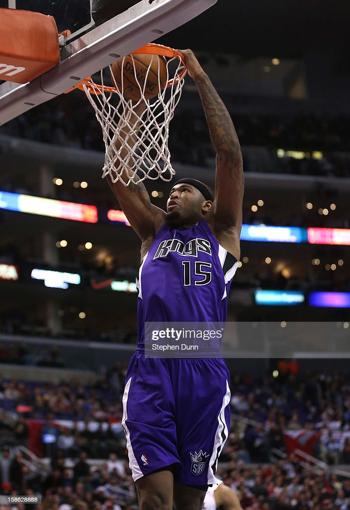 DeMarcus Cousins #15 of the Sacramento Kings dunks against the Los Angeles Clippers at Staples Center on December 21, 2012 in Los Angeles, California.