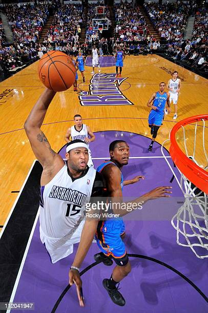 DeMarcus Cousins of the Sacramento Kings dunks the ball against the Oklahoma City Thunder on April 11 2011 at Power Balance Pavilion in Sacramento...