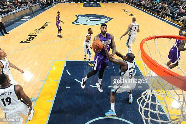 DeMarcus Cousins of the Sacramento Kings goes for the layup during the game against the Memphis Grizzlies on March 2 2016 at FedExForum in Memphis...