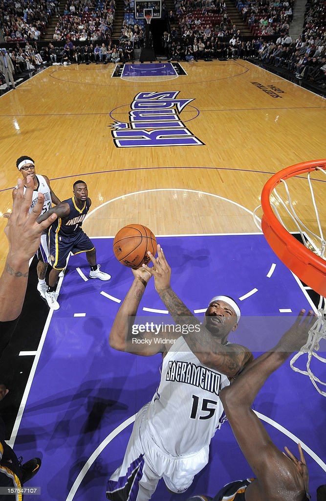 DeMarcus Cousins #15 of the Sacramento Kings goes up for the shot against the Indiana Pacers on November 30, 2012 at Sleep Train Arena in Sacramento, California.