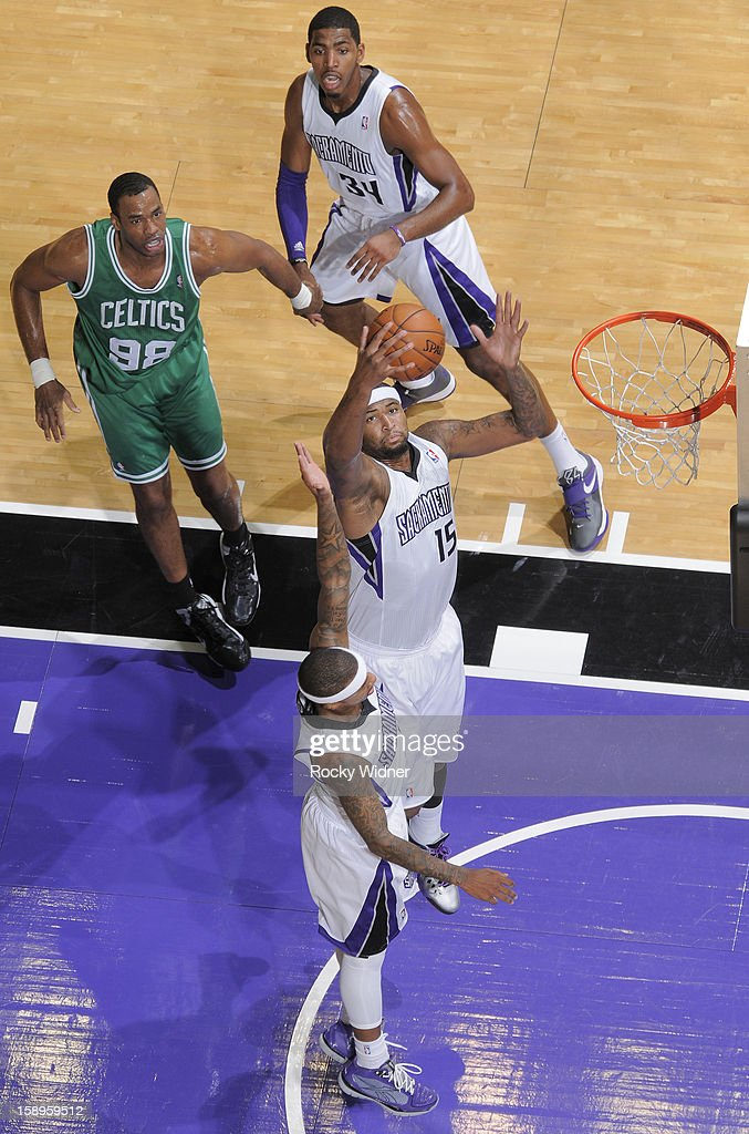 DeMarcus Cousins #15 of the Sacramento Kings grabs the rebound against the Boston Celtics on December 30, 2012 at Sleep Train Arena in Sacramento, California.