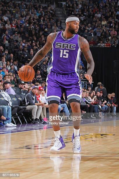 DeMarcus Cousins of the Sacramento Kings handles the ball against the Oklahoma City Thunder on November 23 2016 at Golden 1 Center in Sacramento...