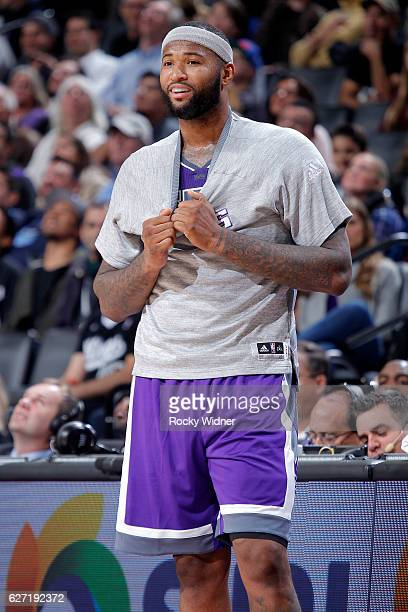 DeMarcus Cousins of the Sacramento Kings looks on during the game against the Oklahoma City Thunder on November 23, 2016 at Golden 1 Center in...