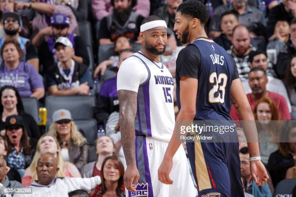 DeMarcus Cousins of the Sacramento Kings looks over at Anthony Davis of the New Orleans Pelicans on February 12 2017 at Golden 1 Center in Sacramento...