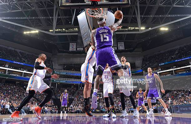 DeMarcus Cousins of the Sacramento Kings puts up a shot against the Oklahoma City Thunder on November 23, 2016 at Golden 1 Center in Sacramento,...