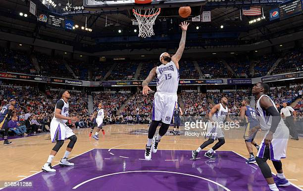 DeMarcus Cousins of the Sacramento Kings rebounds against the New Orleans Pelicans on March 16 2016 at Sleep Train Arena in Sacramento California...