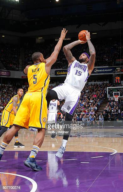 DeMarcus Cousins of the Sacramento Kings shoots against Lavoy Allen of the Indiana Pacers on January 23 2016 at Sleep Train Arena in Sacramento...