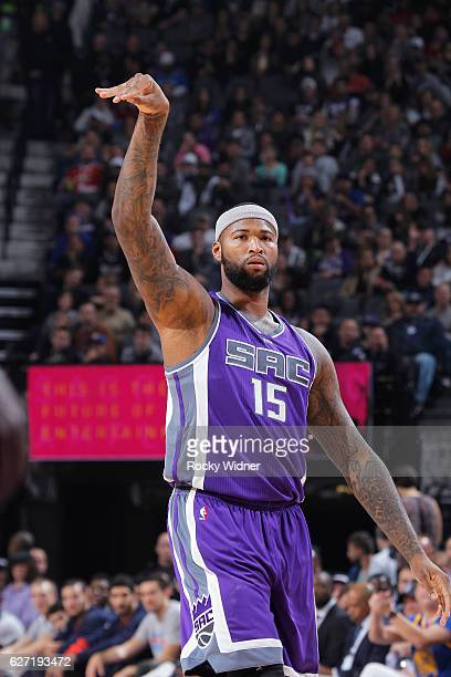 DeMarcus Cousins of the Sacramento Kings shoots against the Oklahoma City Thunder on November 23 2016 at Golden 1 Center in Sacramento California...