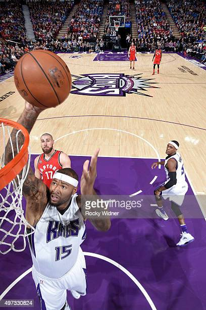DeMarcus Cousins of the Sacramento Kings shoots the ball against the Toronto Raptors at Sleep Train Arena on November 15 2015 in Sacramento...