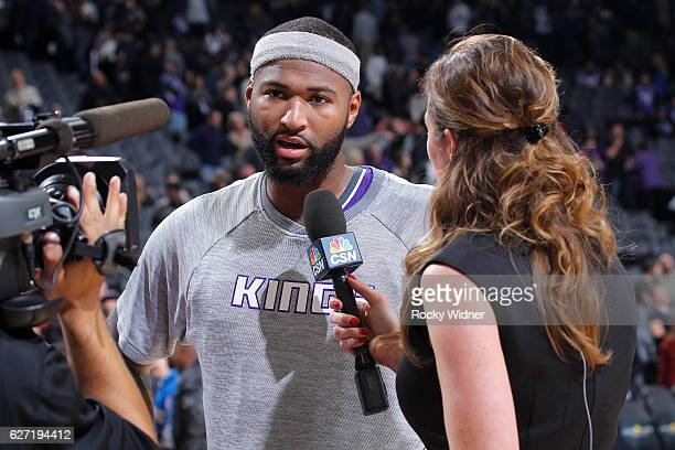 DeMarcus Cousins of the Sacramento Kings speaks with media after defeating the Oklahoma City Thunder on November 23 2016 at Golden 1 Center in...